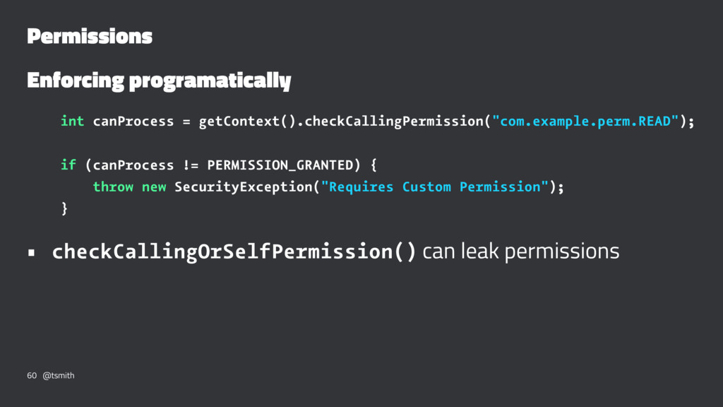 Permissions Enforcing programatically int canPr...