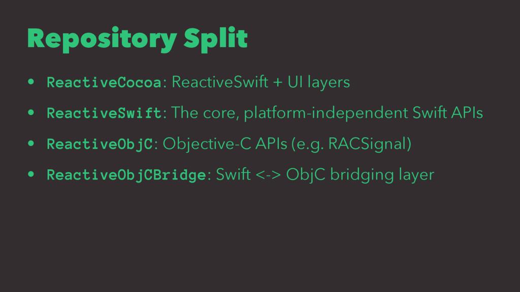 Repository Split • ReactiveCocoa: ReactiveSwift...
