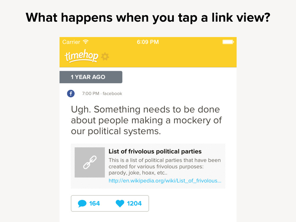 What happens when you tap a link view?