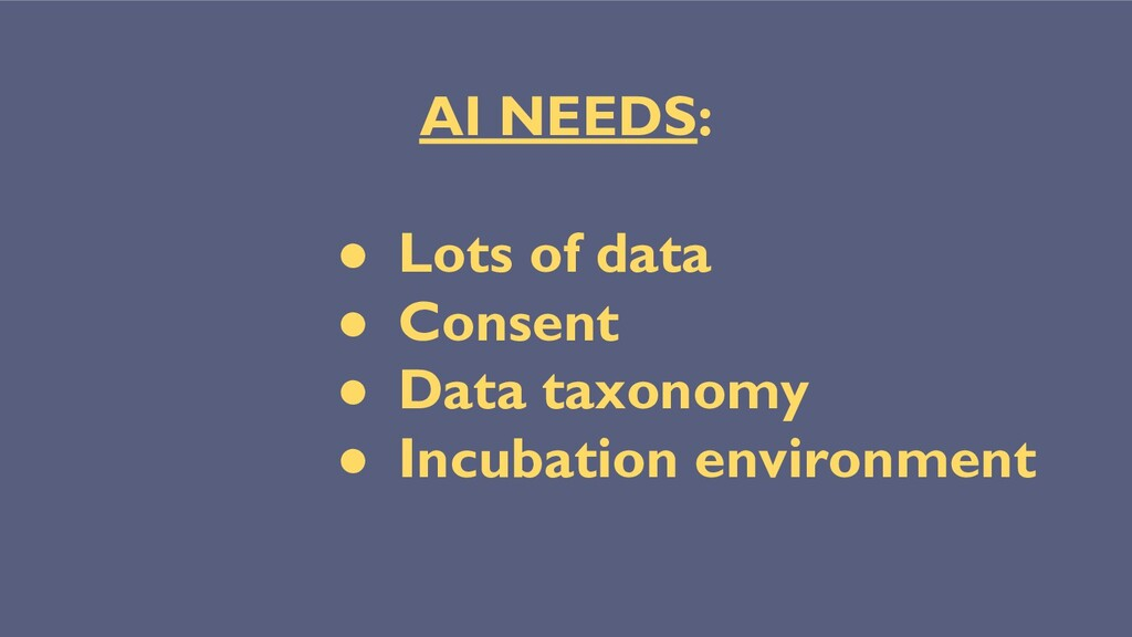 AI NEEDS: ● Lots of data ● Consent ● Data taxon...