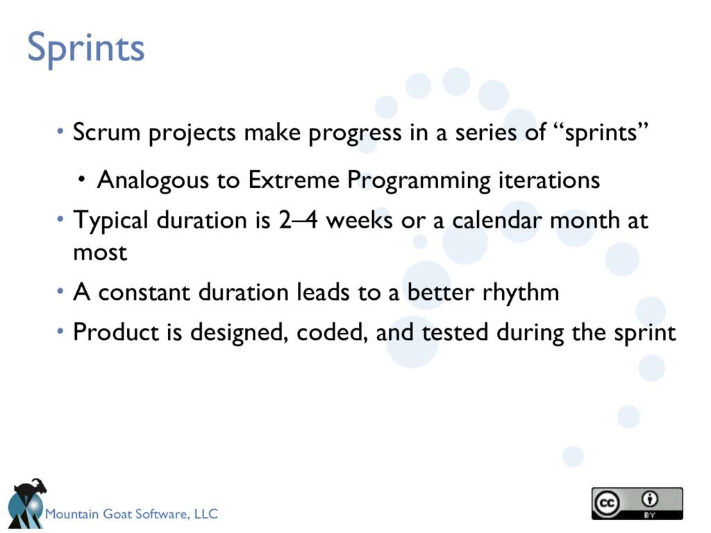 Mountain Goat Software, LLC Sprints • Scrum pro...