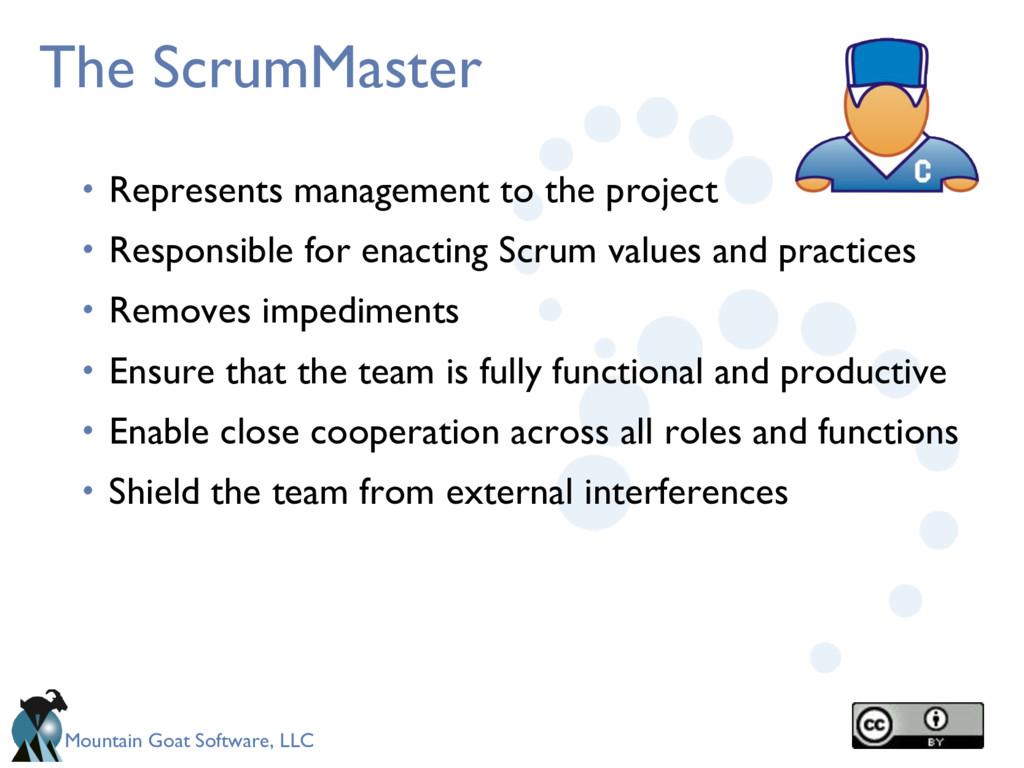 Mountain Goat Software, LLC The ScrumMaster • R...