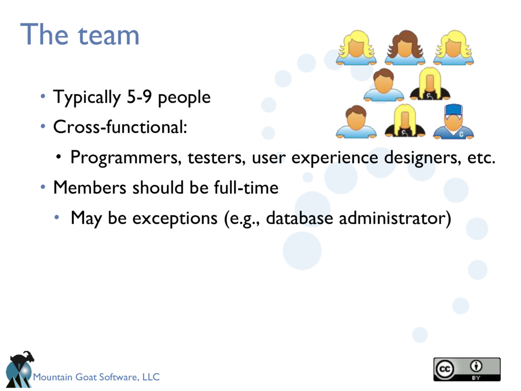 Mountain Goat Software, LLC The team • Typicall...