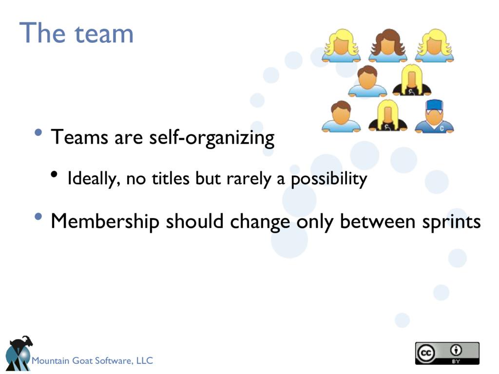 Mountain Goat Software, LLC The team • Teams ar...