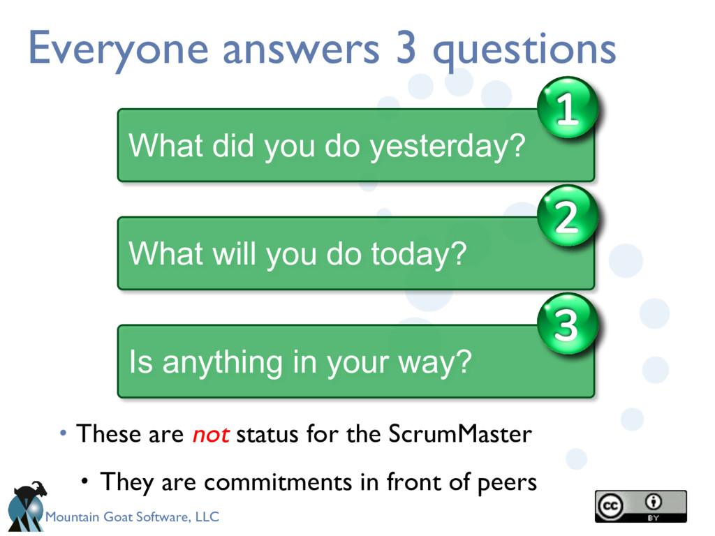 Mountain Goat Software, LLC Everyone answers 3 ...