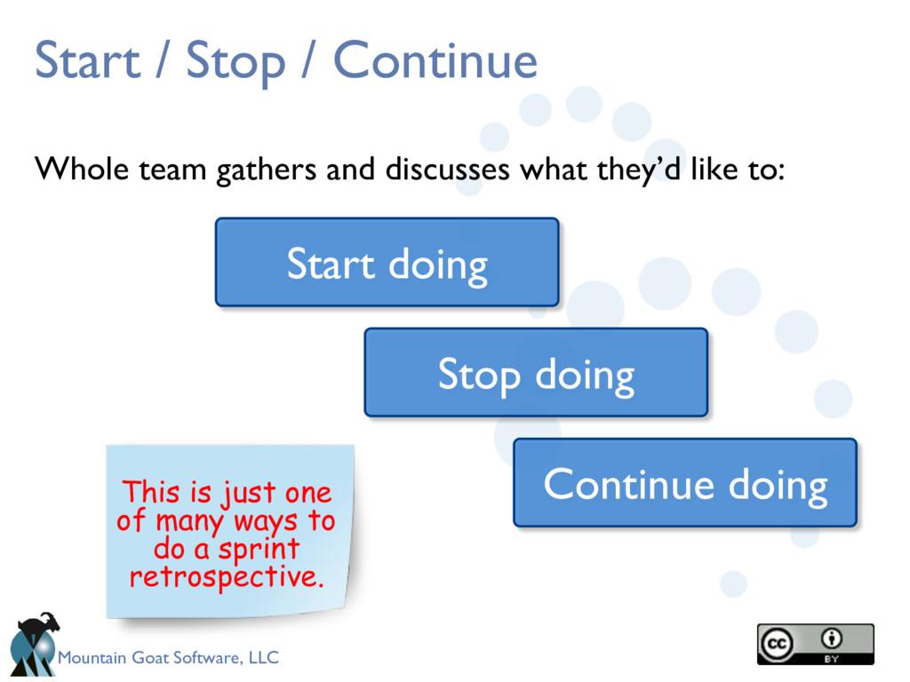Mountain Goat Software, LLC Start / Stop / Cont...