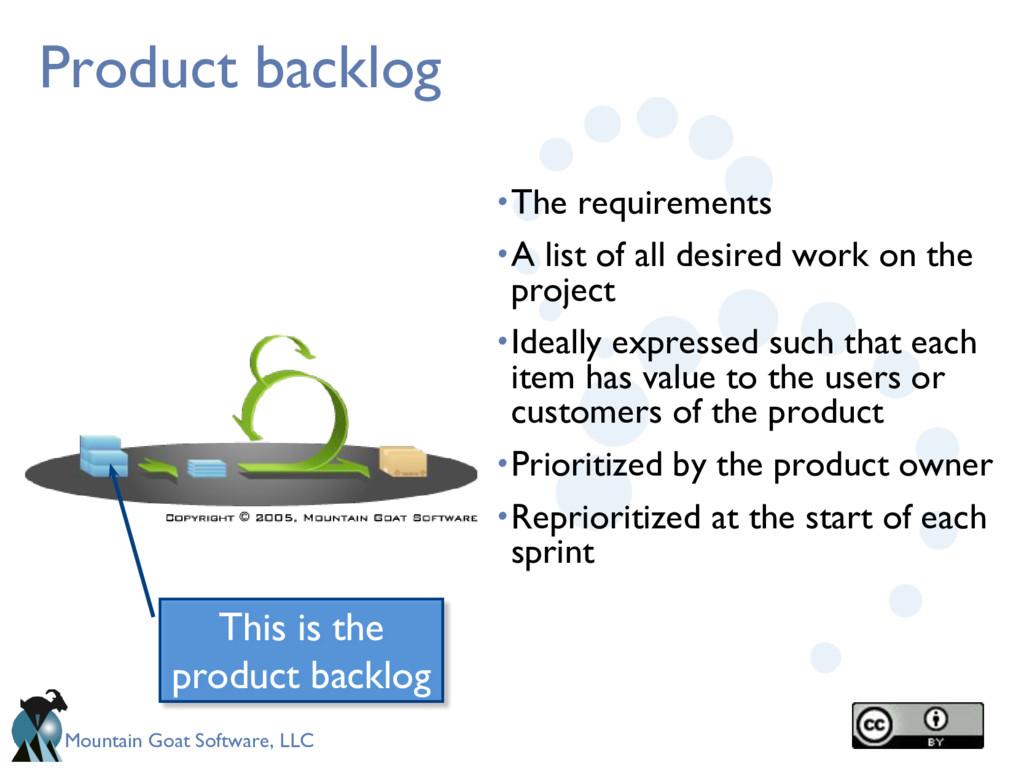 Mountain Goat Software, LLC Product backlog •Th...