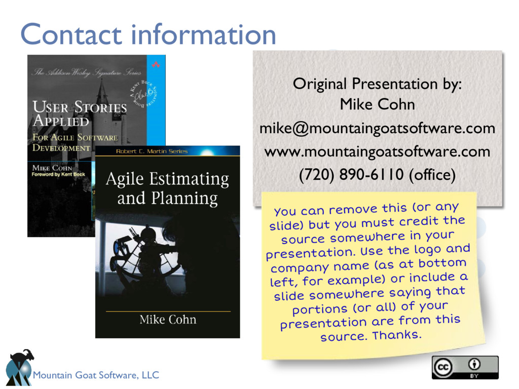 Mountain Goat Software, LLC Contact information...