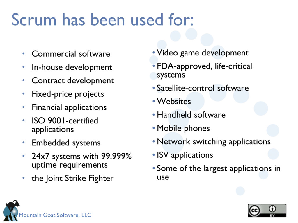 Mountain Goat Software, LLC Scrum has been used...