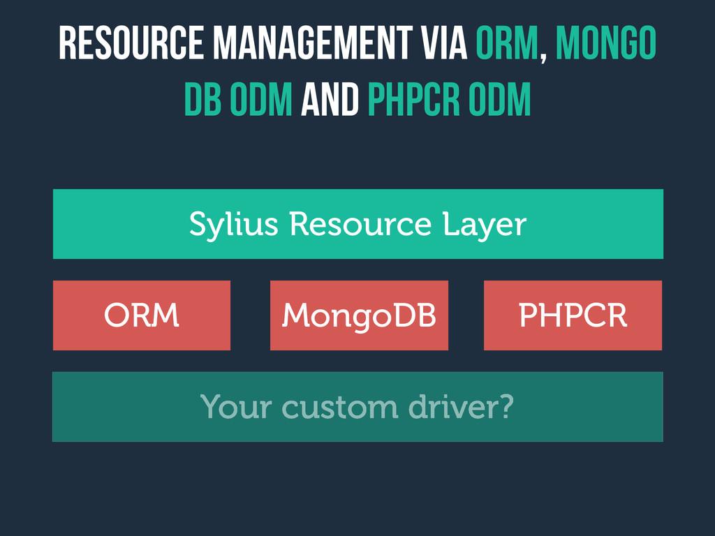 Resource management via orm, Mongo dB ODM and P...