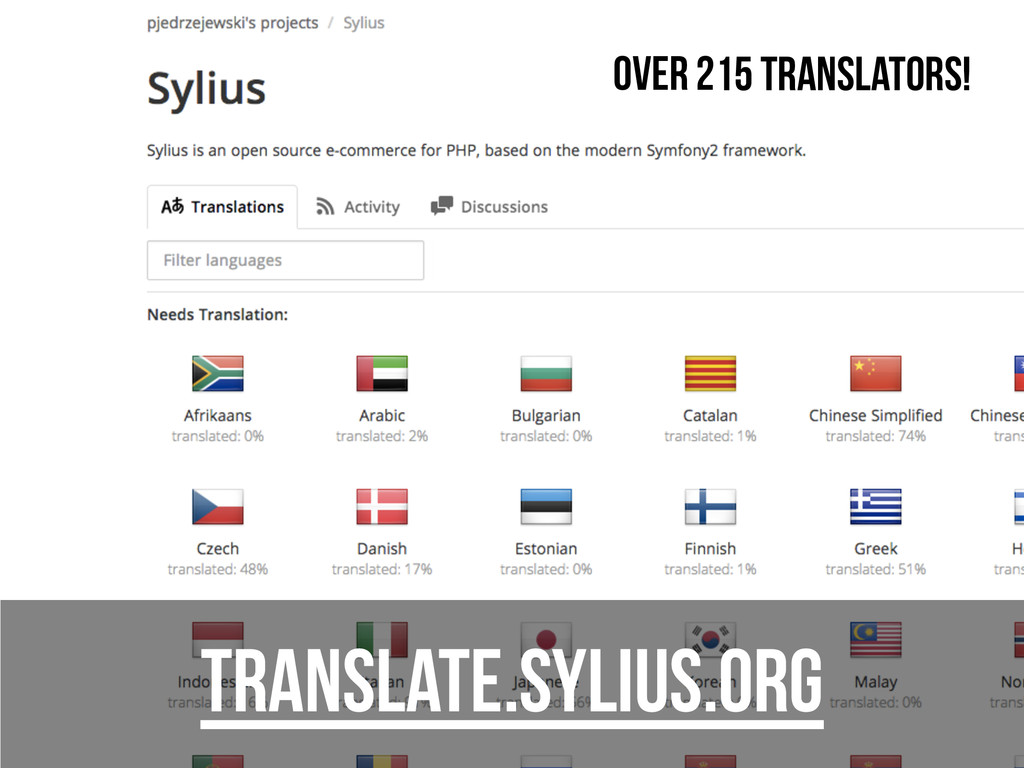 translate.sylius.org Over 215 translators!