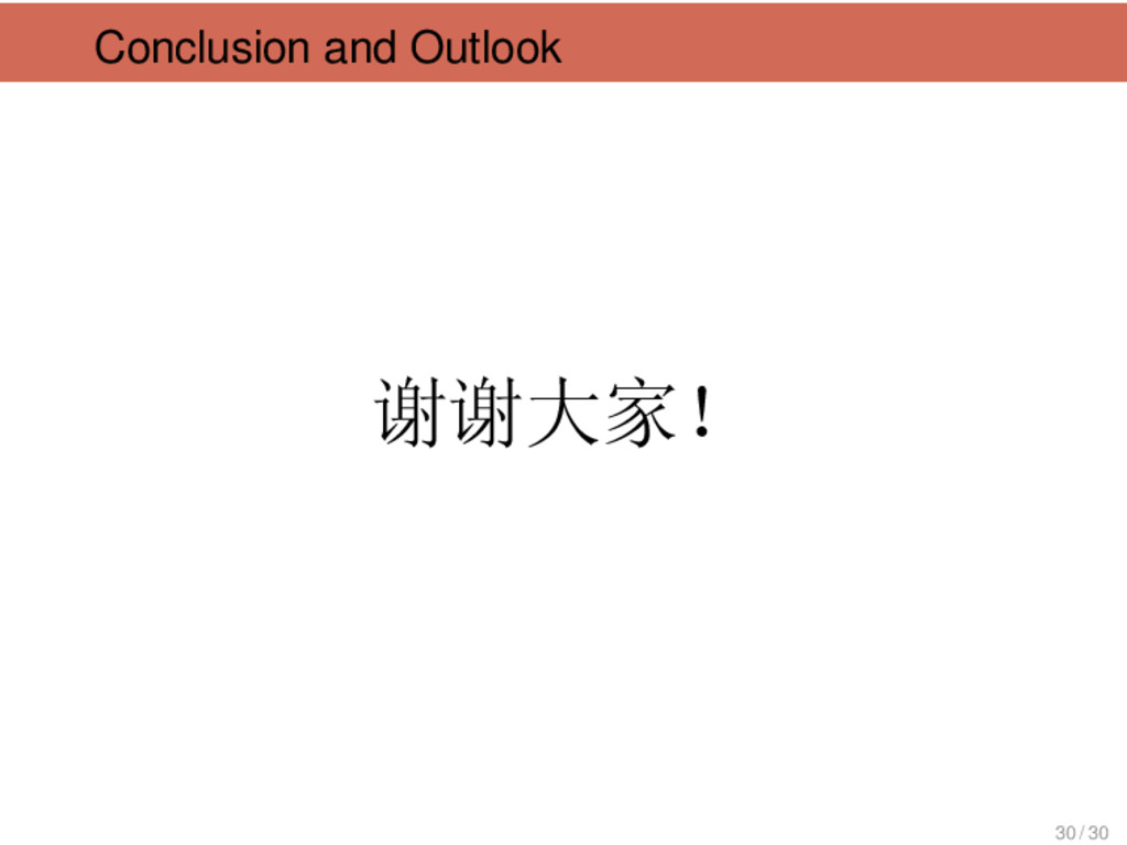 Conclusion and Outlook 谢谢大家! 30 / 30