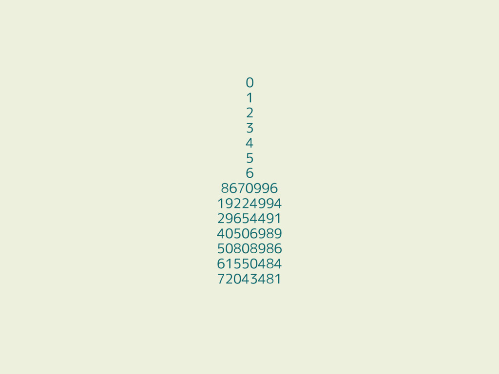 0 1 2 3 4 5 6 8670996 19224994 29654491 4050698...