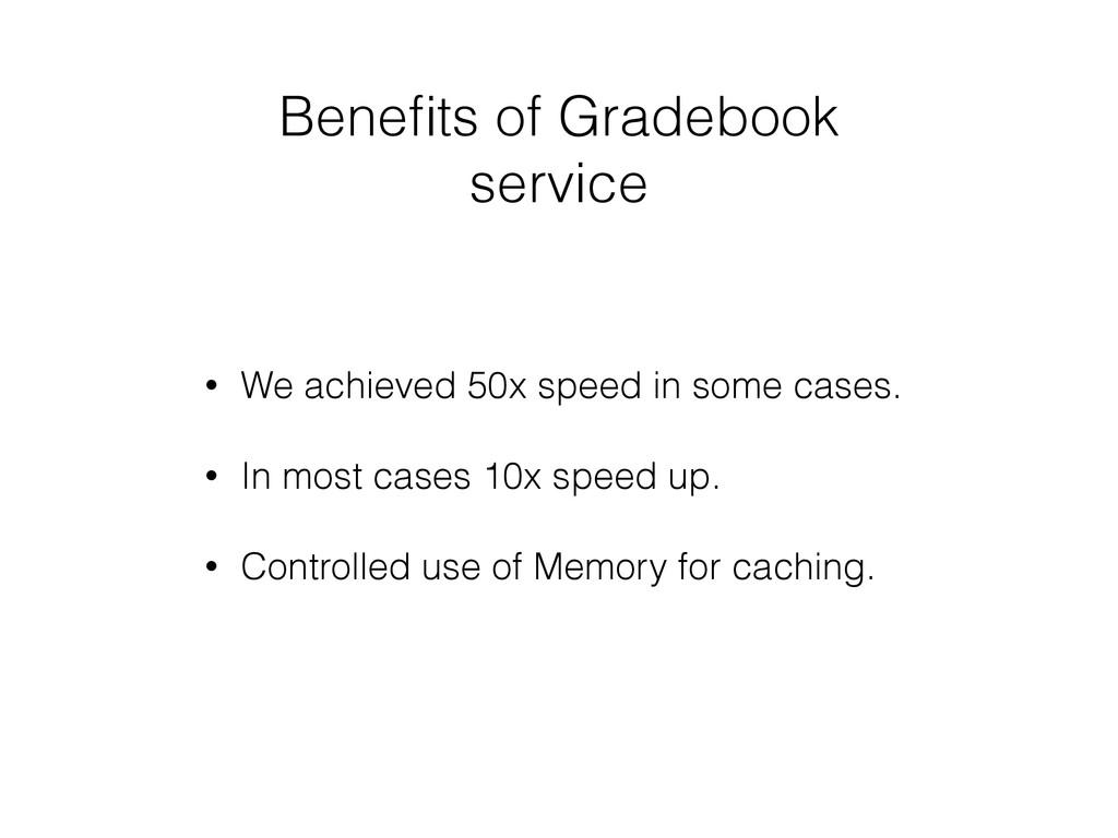 Benefits of Gradebook service • We achieved 50x ...