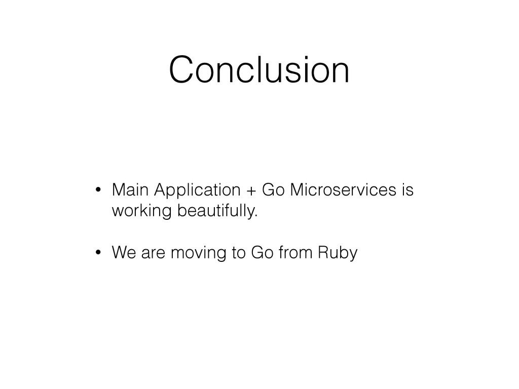 Conclusion • Main Application + Go Microservice...