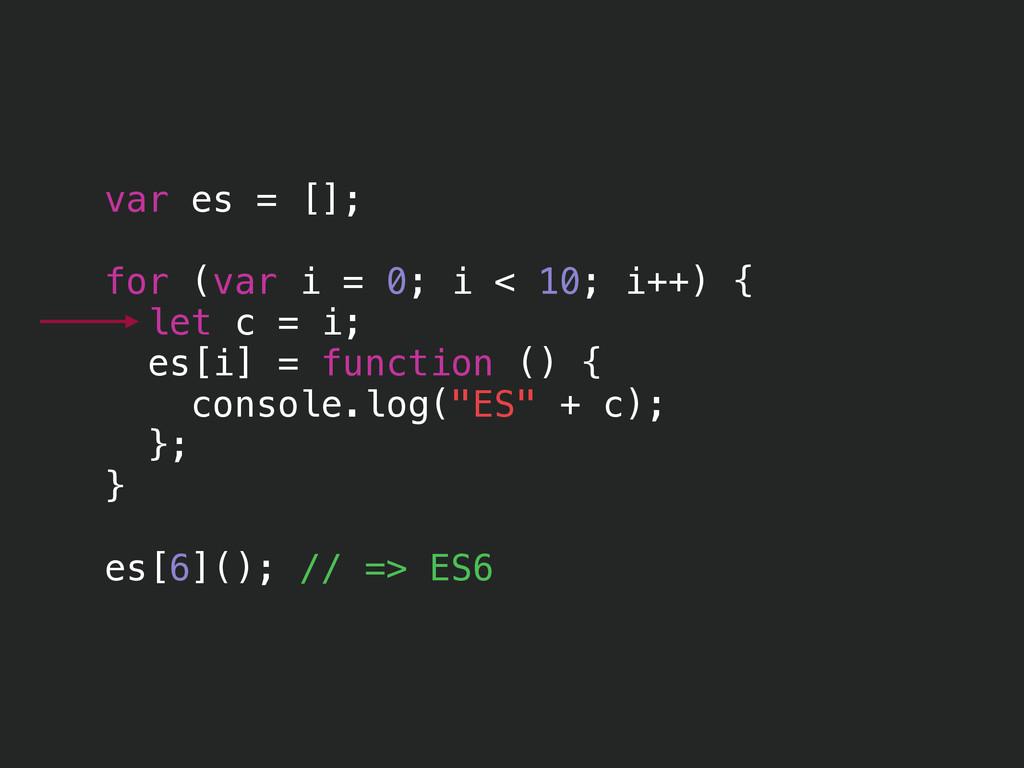 var es = []; ! for (var i = 0; i < 10; i++) { l...