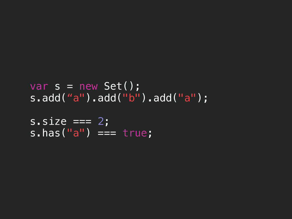 "var s = new Set(); s.add(""a"").add(""b"").add(""a"")..."
