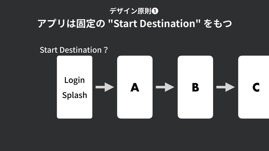 "Login Splash A B C アプリは固定の ""Start Destination"" ..."