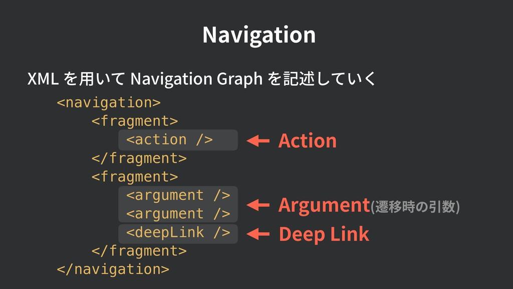 Navigation Action Argument(遷移時の引数) XML を⽤いて Nav...