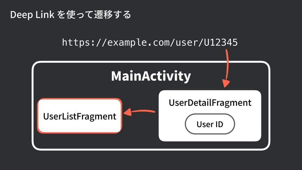 Deep Link を使って遷移する https://example.com/user/U12...