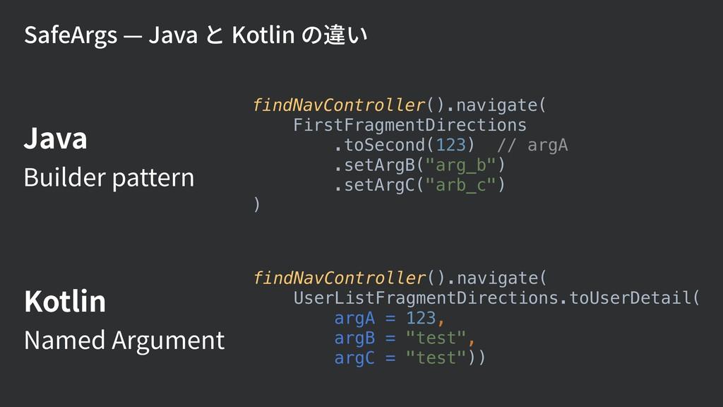 SafeArgs — Java と Kotlin の違い findNavController(...