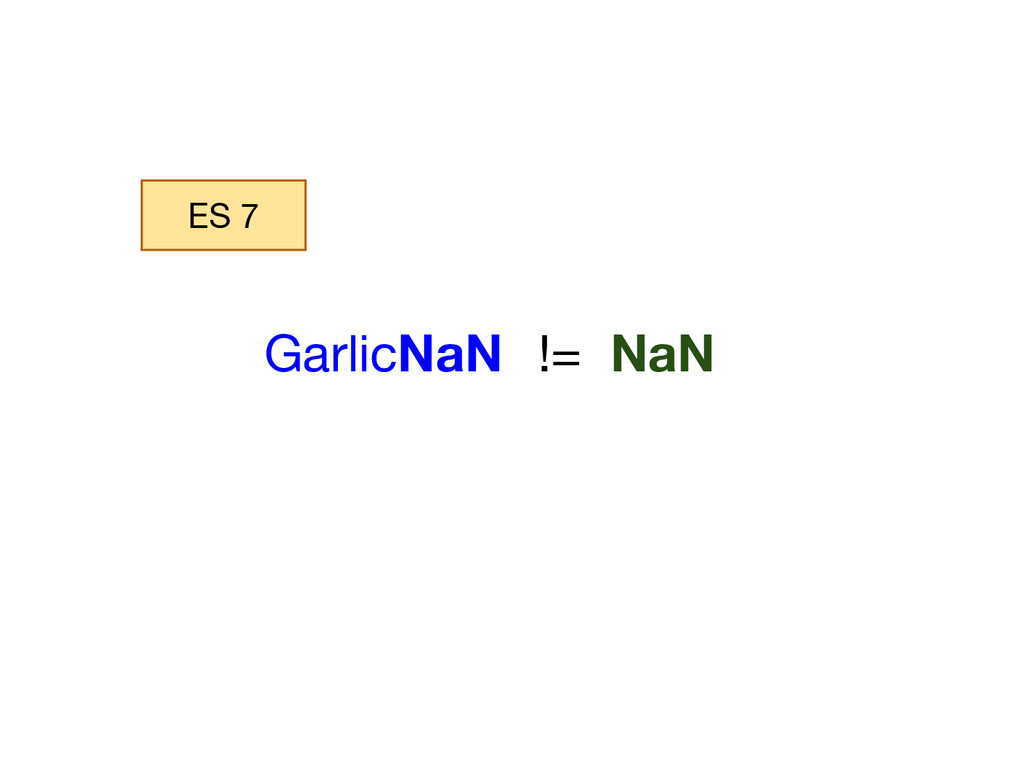 GarlicNaN != NaN ES 7