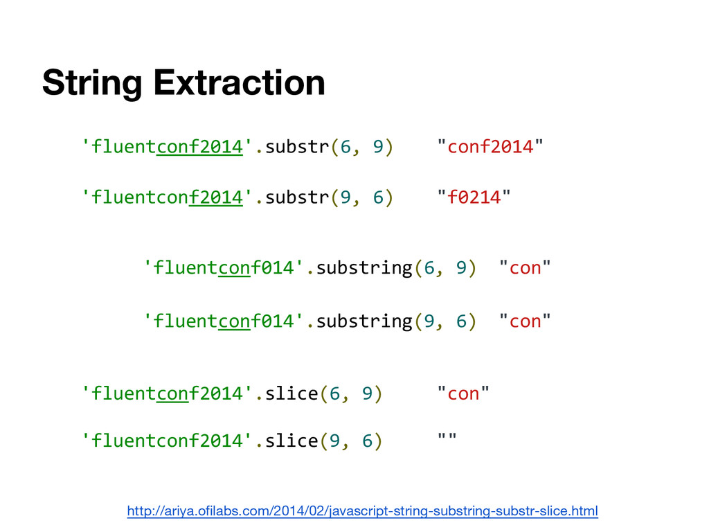 String Extraction 'fluentconf2014'.substr(6, 9)...