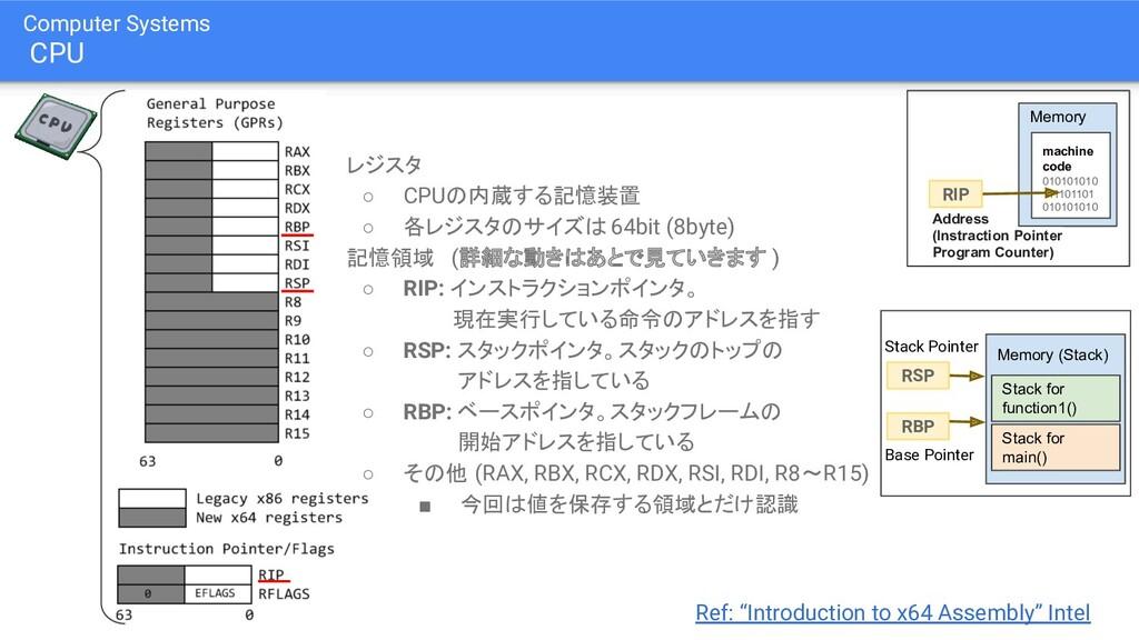 ● レジスタ ○ CPUの内蔵する記憶装置 ○ 各レジスタのサイズは 64bit (8byte...