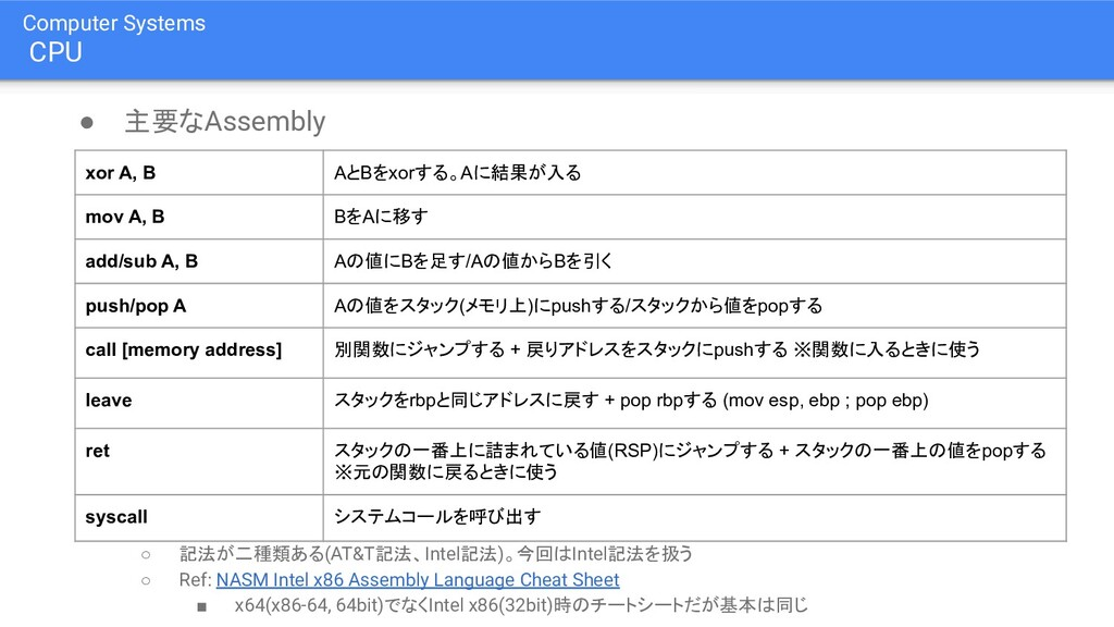 Computer Systems CPU ● 主要なAssembly ○ 記法が二種類ある(A...