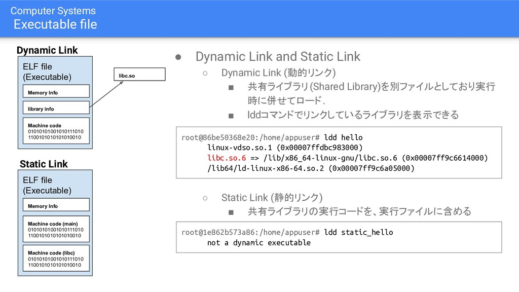 Computer Systems Executable file ● Dynamic Link ...