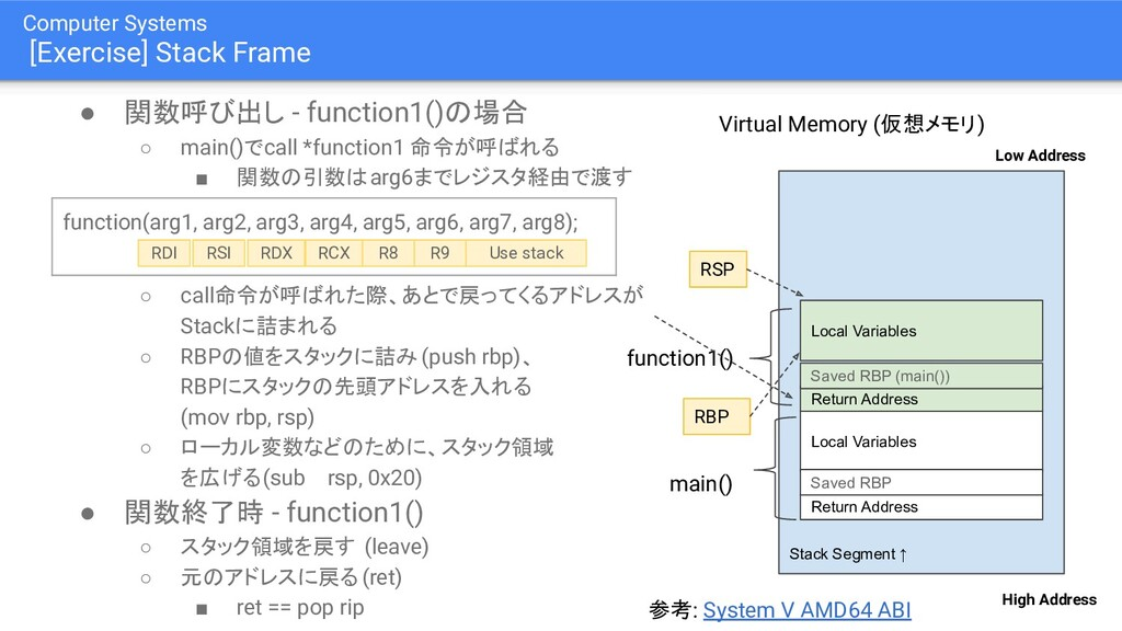 Computer Systems [Exercise] Stack Frame ● 関数呼び出...