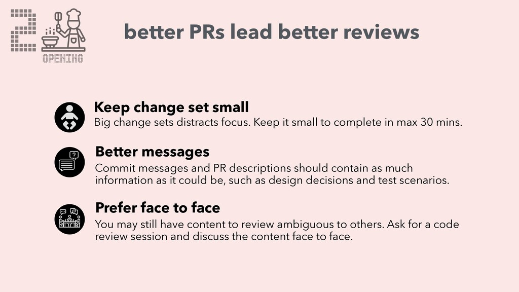 2 OPENING better PRs lead better reviews Keep c...