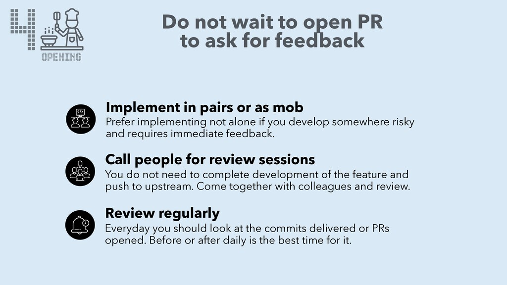 4 OPENING Do not wait to open PR to ask for fee...