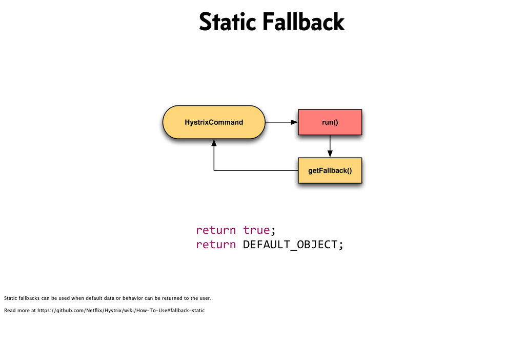 HystrixCommand run() getFallback() return&true;...