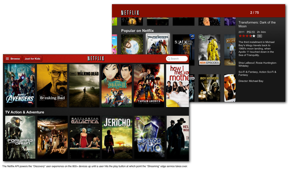 "The Netflix API powers the ""Discovery"" user expe..."