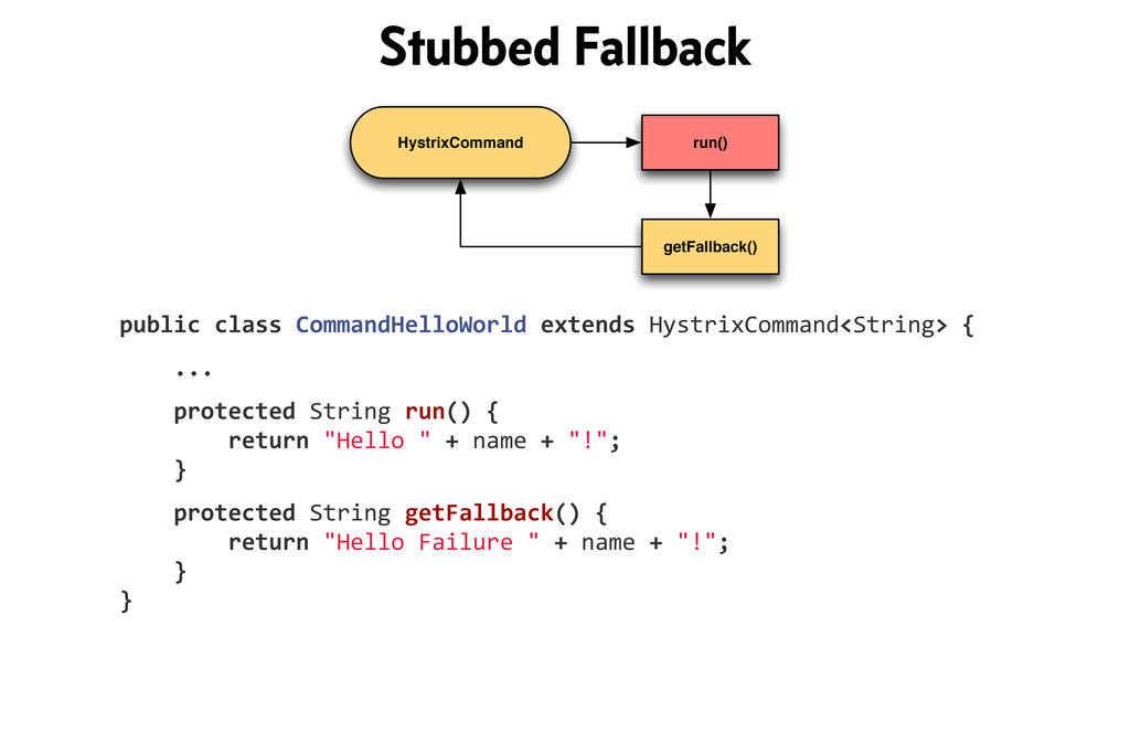 HystrixCommand run() getFallback() public!class...