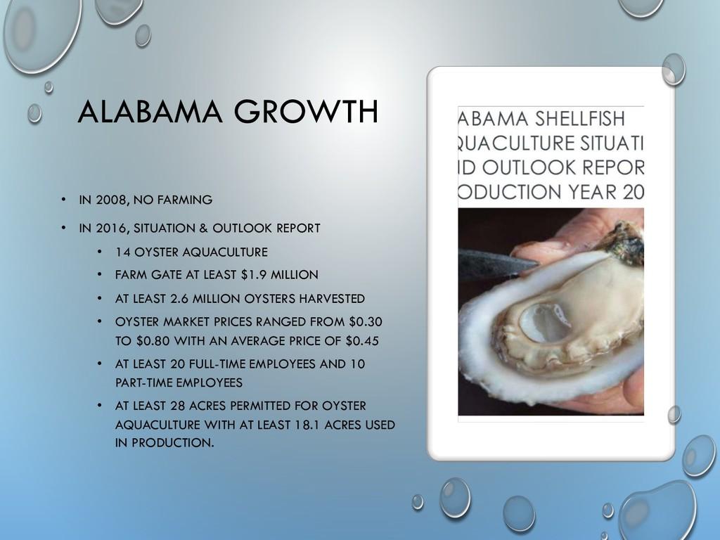 ALABAMA GROWTH • IN 2008, NO FARMING • IN 2016,...