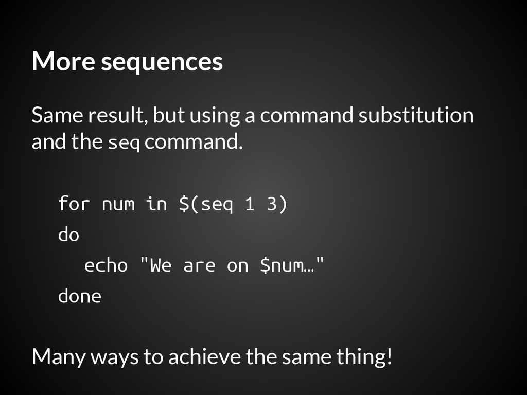 More sequences Same result, but using a command...
