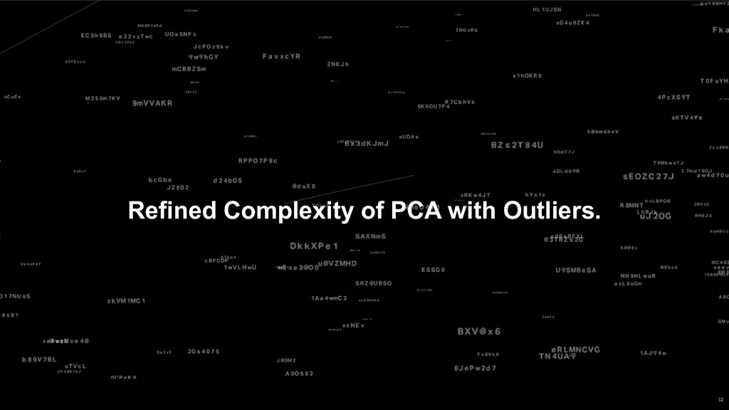 Refined Complexity of PCA with Outliers. 12