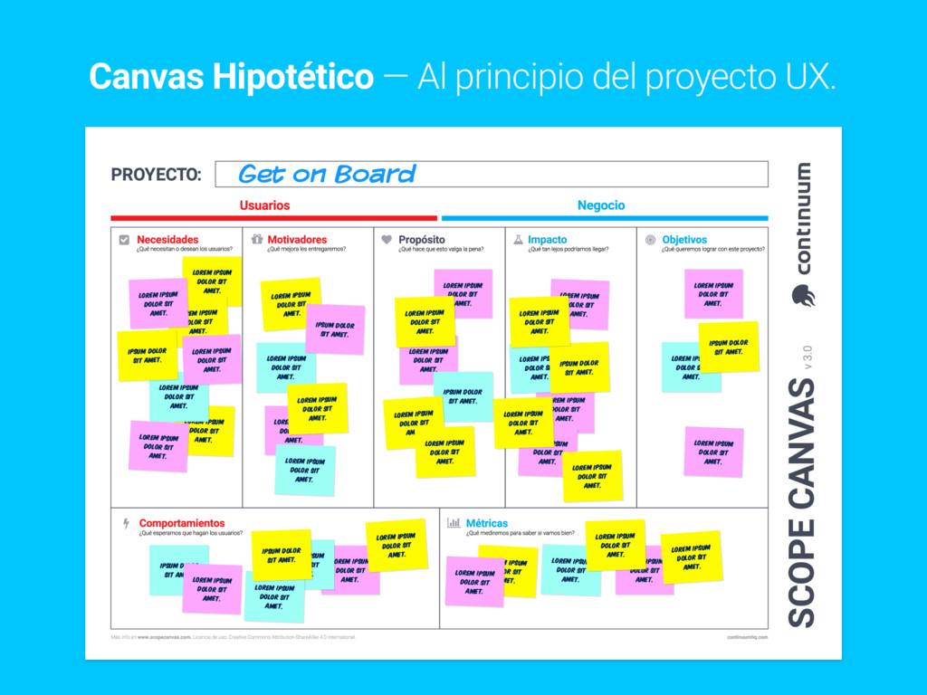 Canvas Hipotético — Al principio del proyecto U...