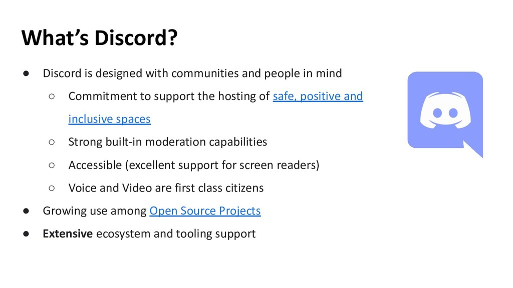 ● Discord is designed with communities and peop...