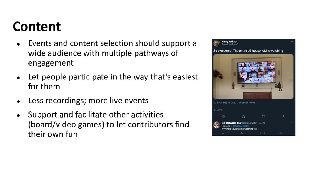 Content ● Events and content selection should s...