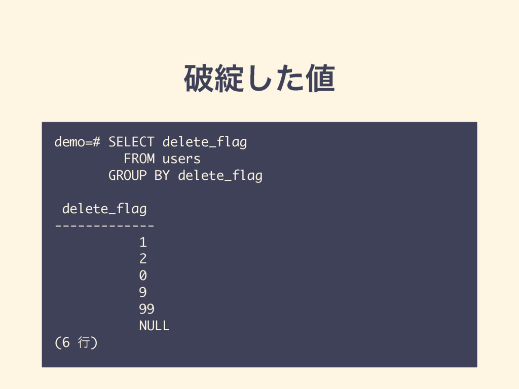 ഁ୼ͨ͠஋ demo=# SELECT delete_flag FROM users GROU...