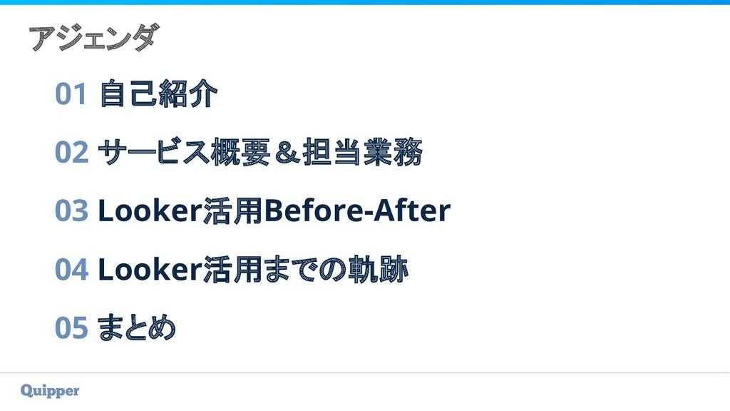 アジェンダ 01 自己紹介 02 サービス概要&担当業務 03 Looker活用Before-...