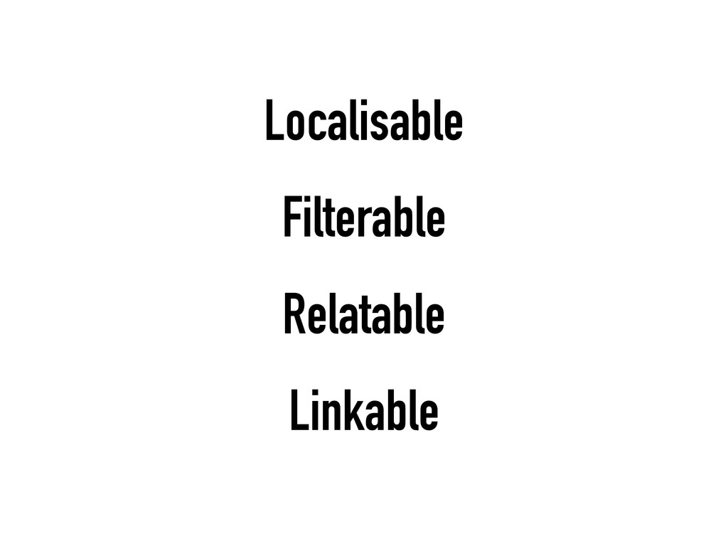 Localisable Filterable Relatable Linkable