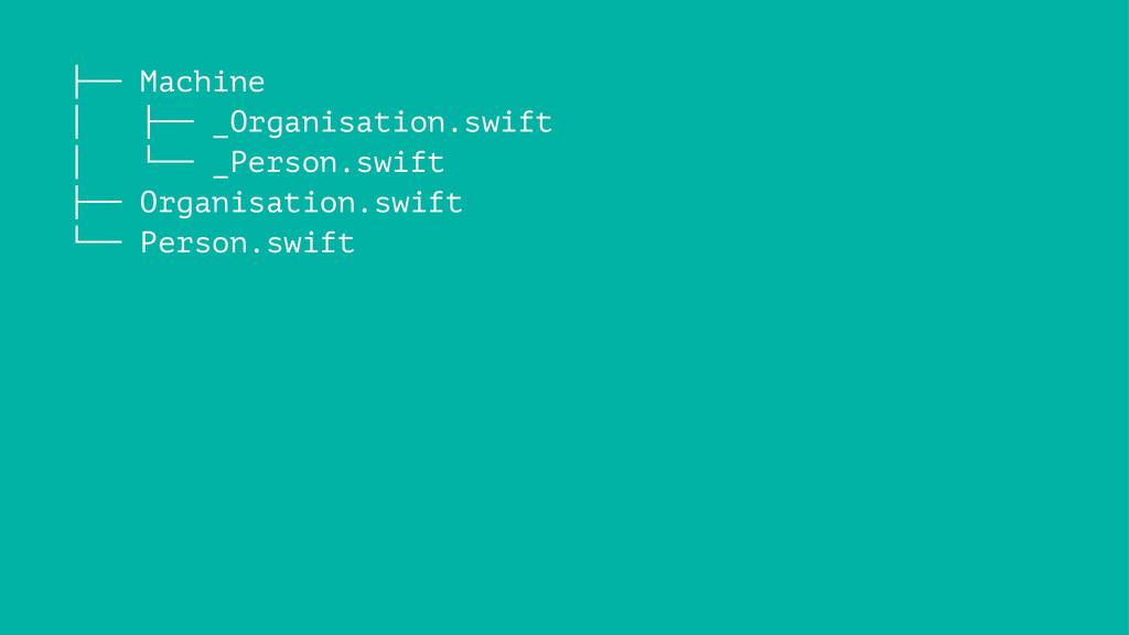 ├── Machine │ ├── _Organisation.swift │ └── _Pe...