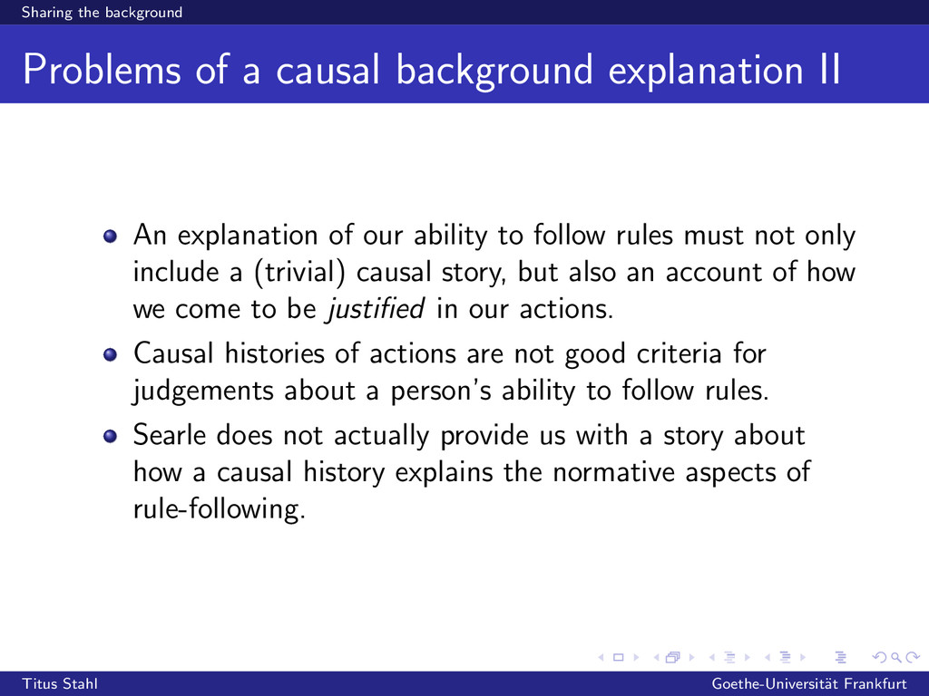 Sharing the background Problems of a causal bac...