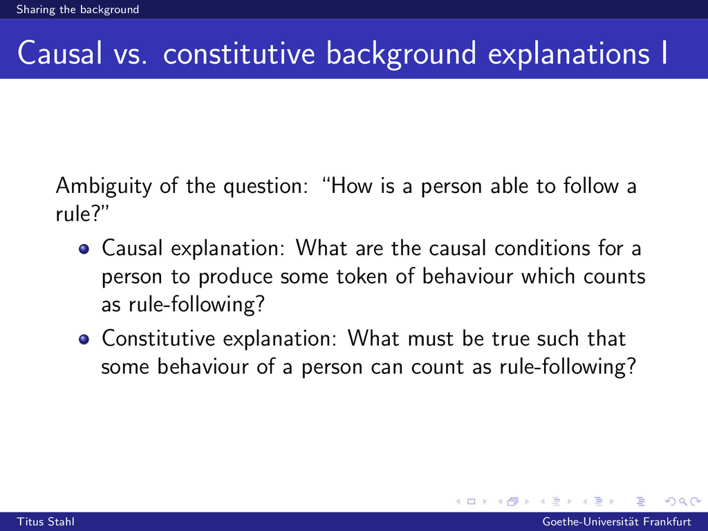Sharing the background Causal vs. constitutive ...