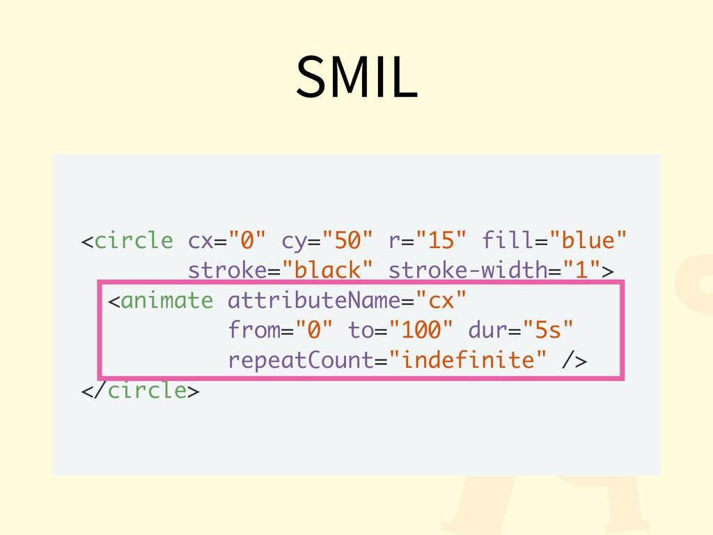 """SMIL <circle cx=""""0"""" cy=""""50"""" r=""""15"""" fill=""""blue"""" ..."""