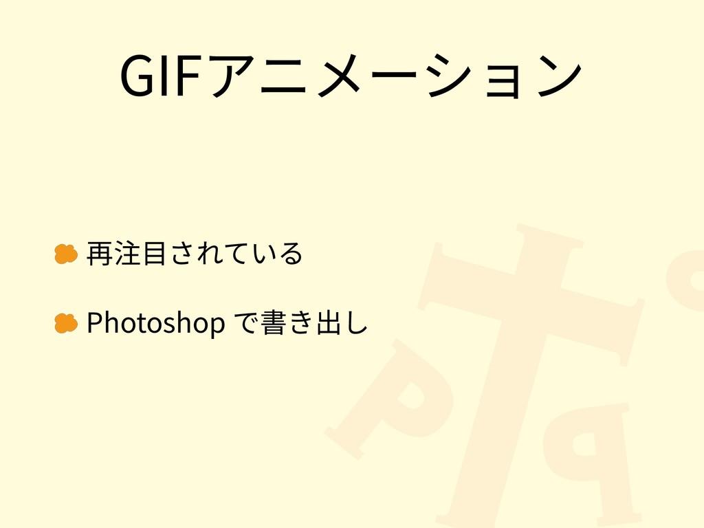 GIFアニメーション 再注⽬されている Photoshop で書き出し